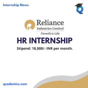 Reliance Internship Opportunity: Best HR Internship (Internship News)- Last Date 23.12.2020