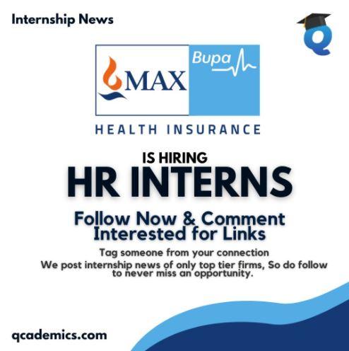 Read more about the article Max Bupa Health Insurance Internship: Amazing HR Internship Opportunity (Internship News)- 29.01.2021