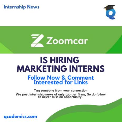 Read more about the article Zoomcar Internship: Best Marketing Internship Opportunity (Internship News)- 19.1.2021