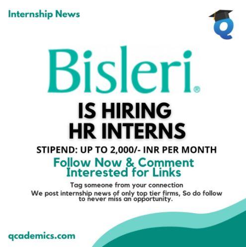 Bisleri Internship: Great Opportunity (HR Internship News)