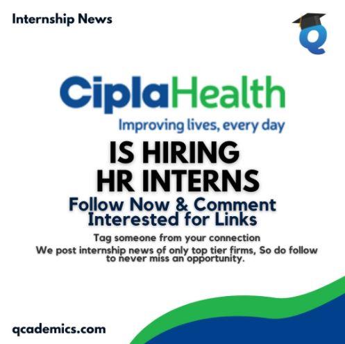 Cipla Internship: HR Internship (Work from Home)