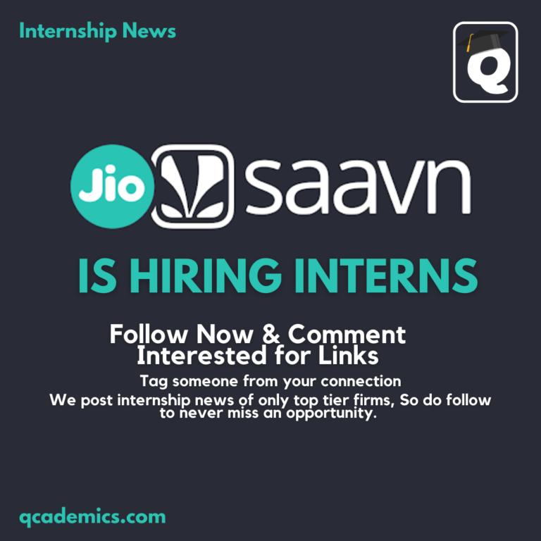 Internship at JioSaavn: Best Internship in India (Internship News)- 02.02.2021
