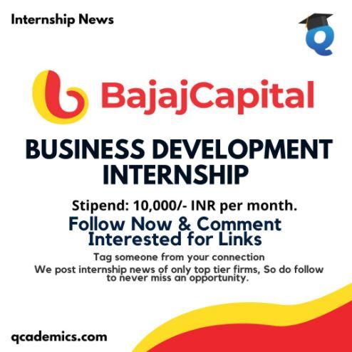 Read more about the article Bajaj Capital Internship News: Business Development