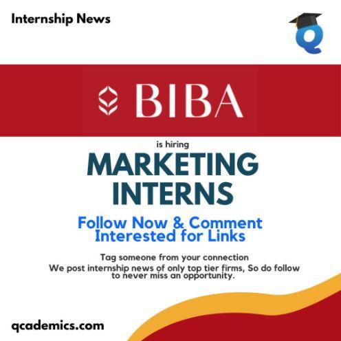 BIBA Internship: Best Marketing Internship (Internship News)- 08.03.2021