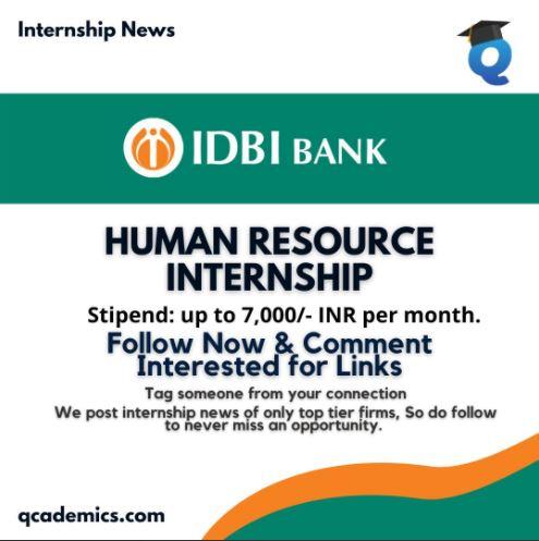 IDBI Federal Life Insurance Internship: Best Human Resource Internship (Internship News)- 08.03.2021