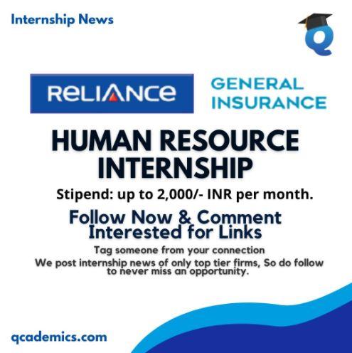 Internship at Reliance: Best Human Resource Internship (Internship News)