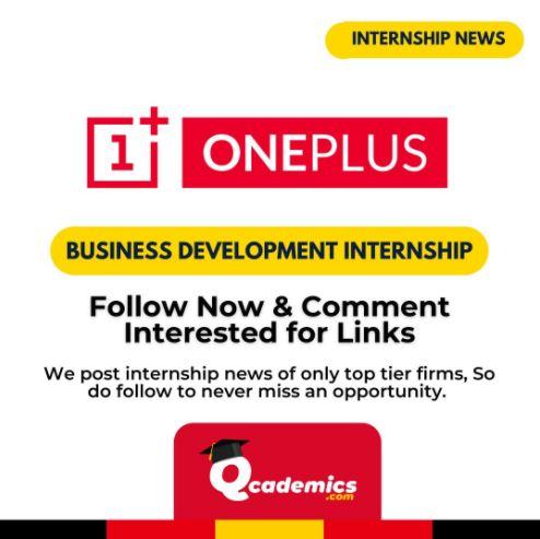 OnePlus Internship: Best Business Development Internship News