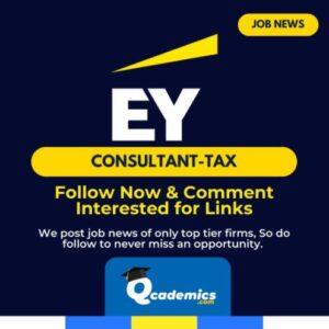Job at EY: Best Consultant – Tax Job News