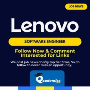 Job in Lenovo: Software Engineer Job  News