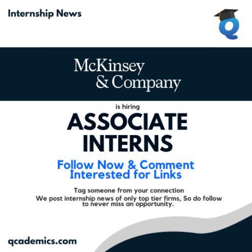 Read more about the article Mckinsey Internship Opportunity: Best Associate Internship (Internship News)- 04.03.2021