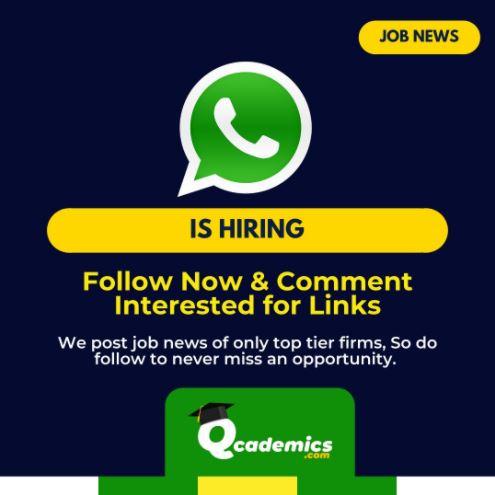 Job in WhatsApp: Great Business Development Manager Job News