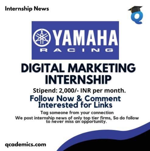 Internship in Yamaha: Best Digital Marketing Internship News