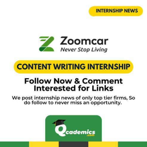 Zoomcar Internship: Best Content Writing Internship News