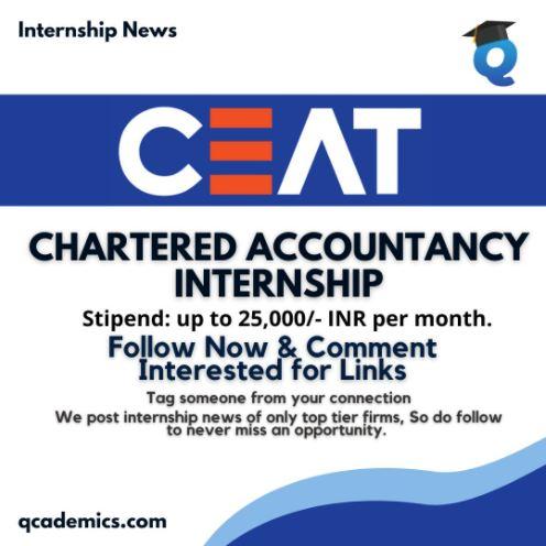 Read more about the article Ceat Tyres Summer Internship: Best Chartered Accountancy Internship (Internship News)- 06.03.2021