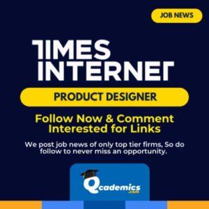 Times Internet Jobs: Product Designer Job News