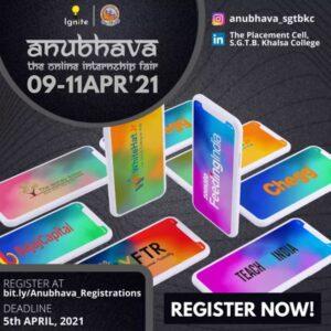 Anubhava 3.0: Internship Fair – The Placement Cell, SGTB Khalsa College