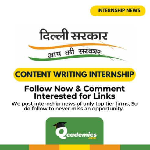 Government of Delhi Jobs: Content Writing Internship