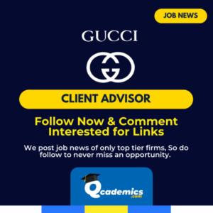 Job in Gucci: Client Advisor Job News