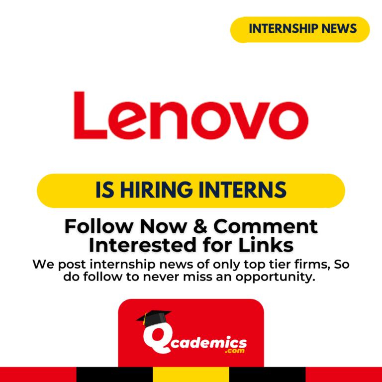 Lenovo Internship News : Online Sales Internship