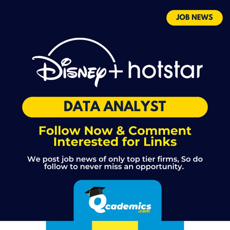 Hotstar Job: Data Analyst Job News