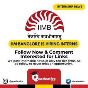 Internship at IIM Bangalore: Academic Interns
