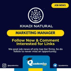 Job in Khadi Natural: Marketing Manager