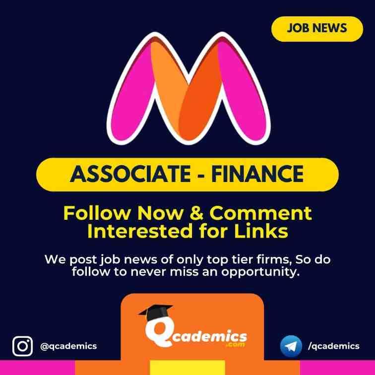 Job in Myntra: Associate- Finance Job News
