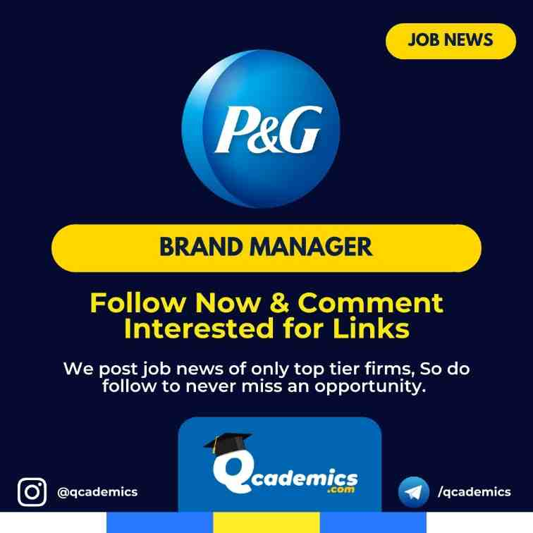 Job in P&G: Brand Manager Job