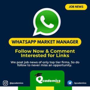 Job in WhatsApp: WhatsApp Market Manager