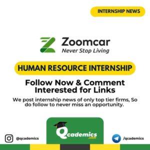 Zoomcar Internship News: Human Resource