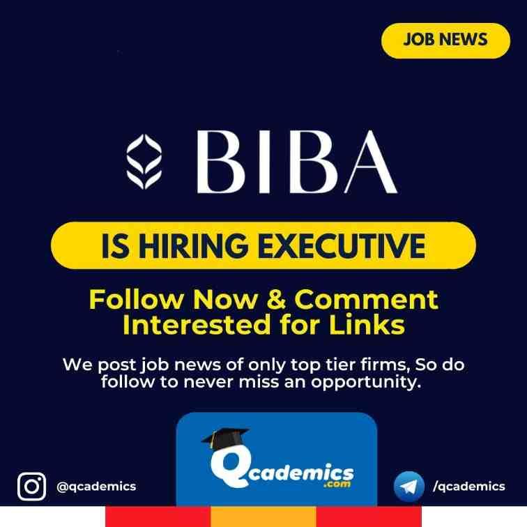 Job in BIBA: Executive Job News