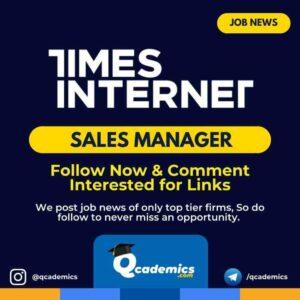 Times Internet Job News: Sales Manager