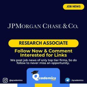 JPMorgan Job News: Research Associate