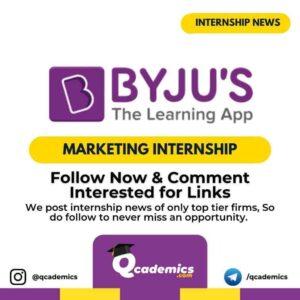 Byjus Internship News: Marketing Internship