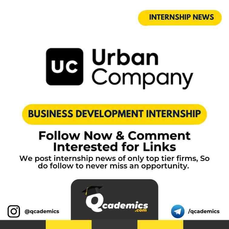 Urban Company Internship News: Business Development