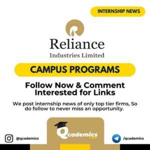 Internship in Reliance: Campus Programs