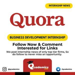Quora Internship News: Business Development
