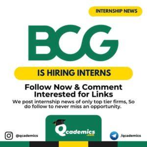 BCG Internship News: Internship Opportunity
