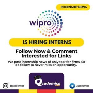 Internship in Wipro: Internship Opportunity