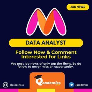 Job in Myntra: Data Analyst Job News