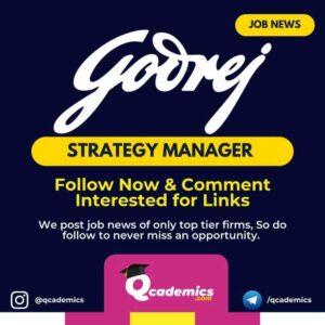 Godrej Jobs: Strategy Manager Job News