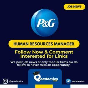 Job at P&G: Human Resource Manager