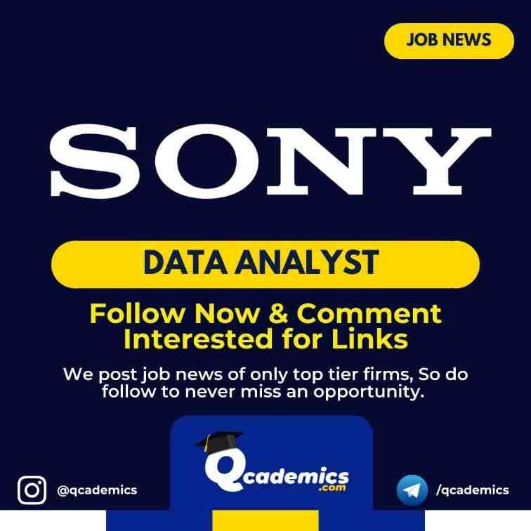 Job in Sony: Lead Data Analyst Job News