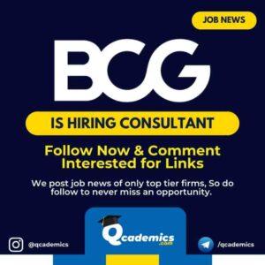 BCG Job News: Consulting Job Vacancy