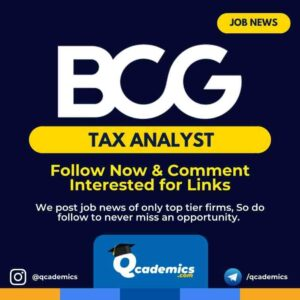BCG Job News: Tax Analyst Job Vacancy