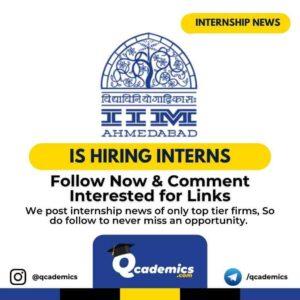 Internship in IIM Ahmedabad: Research Associateship