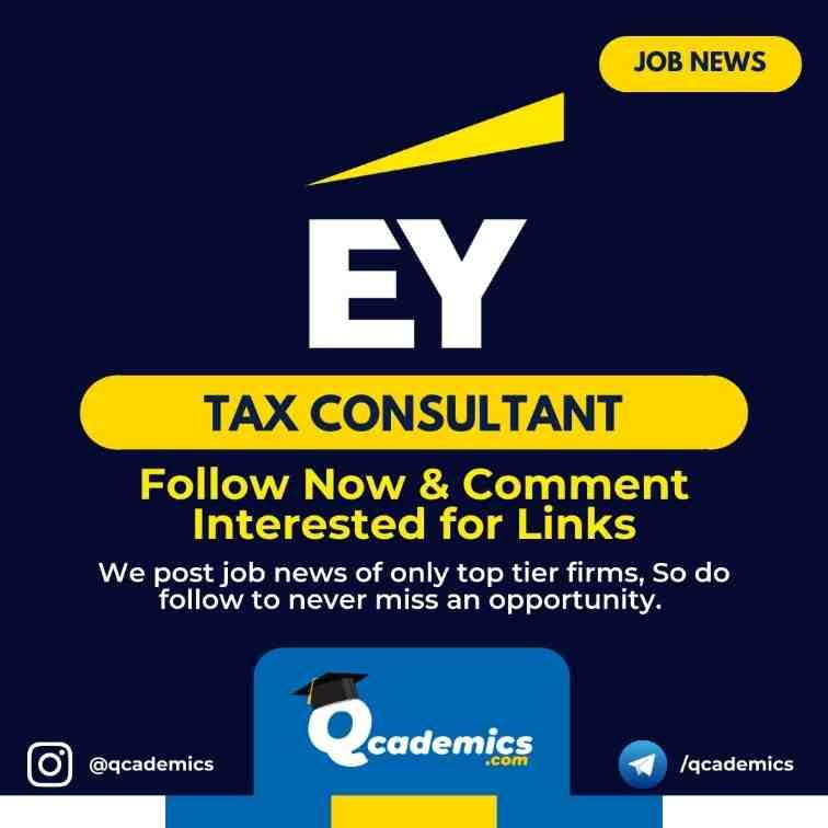 Job at EY: Tax Consultant Job Vacancy