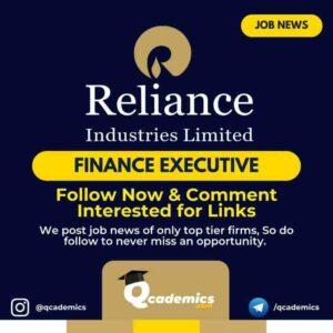 Reliance Job News: Finance Executive