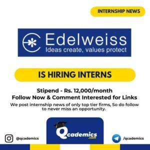 Edelweiss Internship News : Business Analytics Internship