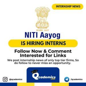 NITI Aayog Internship: NITI Internship News